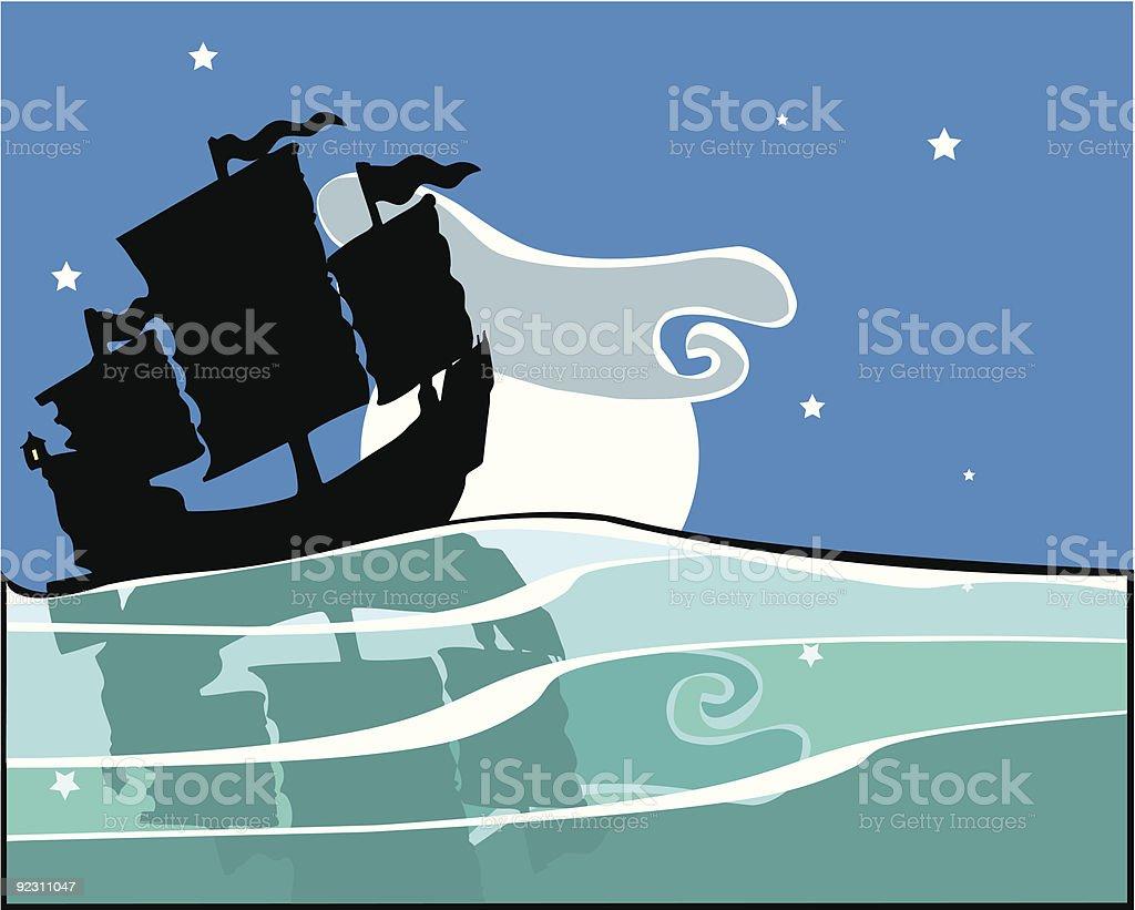 Chinese Junk at night vector art illustration