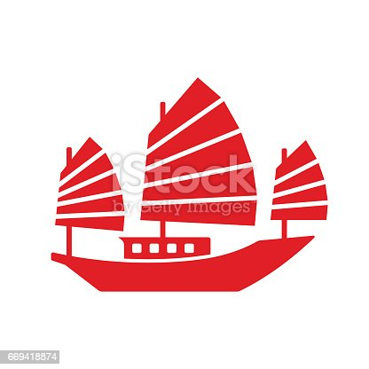 Asian Junk boat, vector icon. Simple stylized cartoon ship clip art illustration.