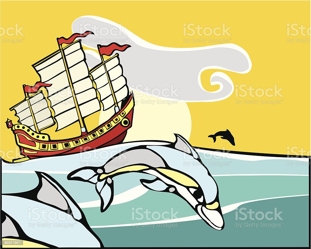 Chinese Junk with dolphins. vector art illustration