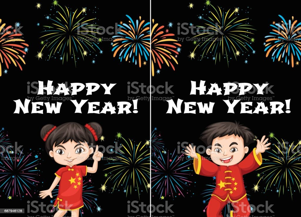 chinese kids and happy new year card templates royalty free stock vector art