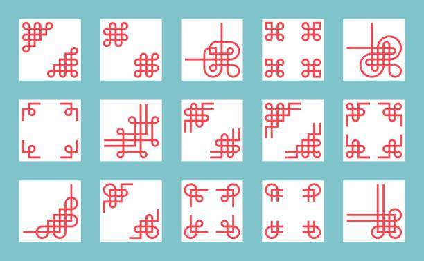 chinese knots border and frame for use in greeting card poster or chinese new chinese new year icons vector art illustration