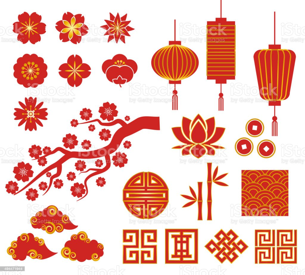 Chinese, Korean or Japan icons for Chinese New Year vector art illustration