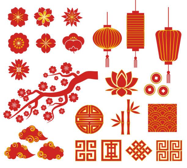 bildbanksillustrationer, clip art samt tecknat material och ikoner med chinese, korean or japan icons for chinese new year - rislampa