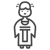 Chinese lady line icon, chinese mid autumn festival concept, woman in traditional costume sign on white background, girl from china icon in outline style for web design. Vector graphics.
