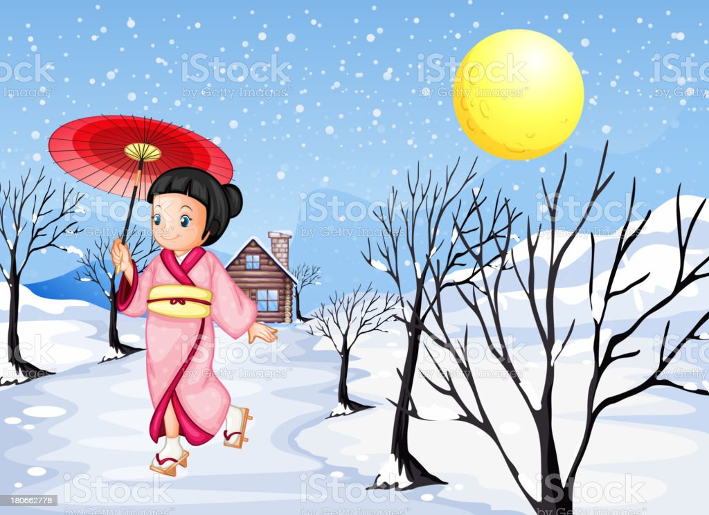 Chinese lady walking under the snow royalty-free stock vector art