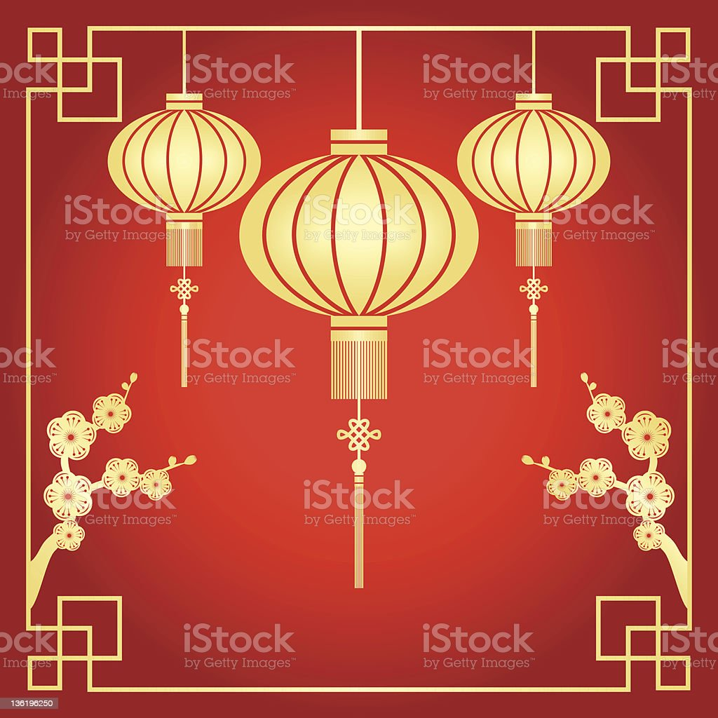 Chinese lamps on a Chinese New Year greeting card  vector art illustration