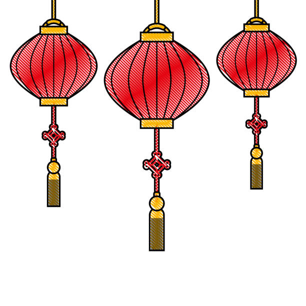 a background decorated with red chinese new year lanterns clip art vector images illustrations