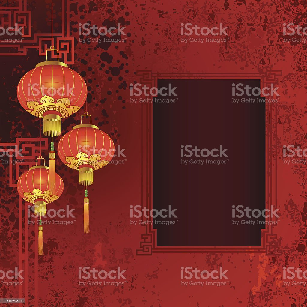 Chinese Lantern Abstract vector art illustration