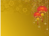 Chinese lantern in gold background