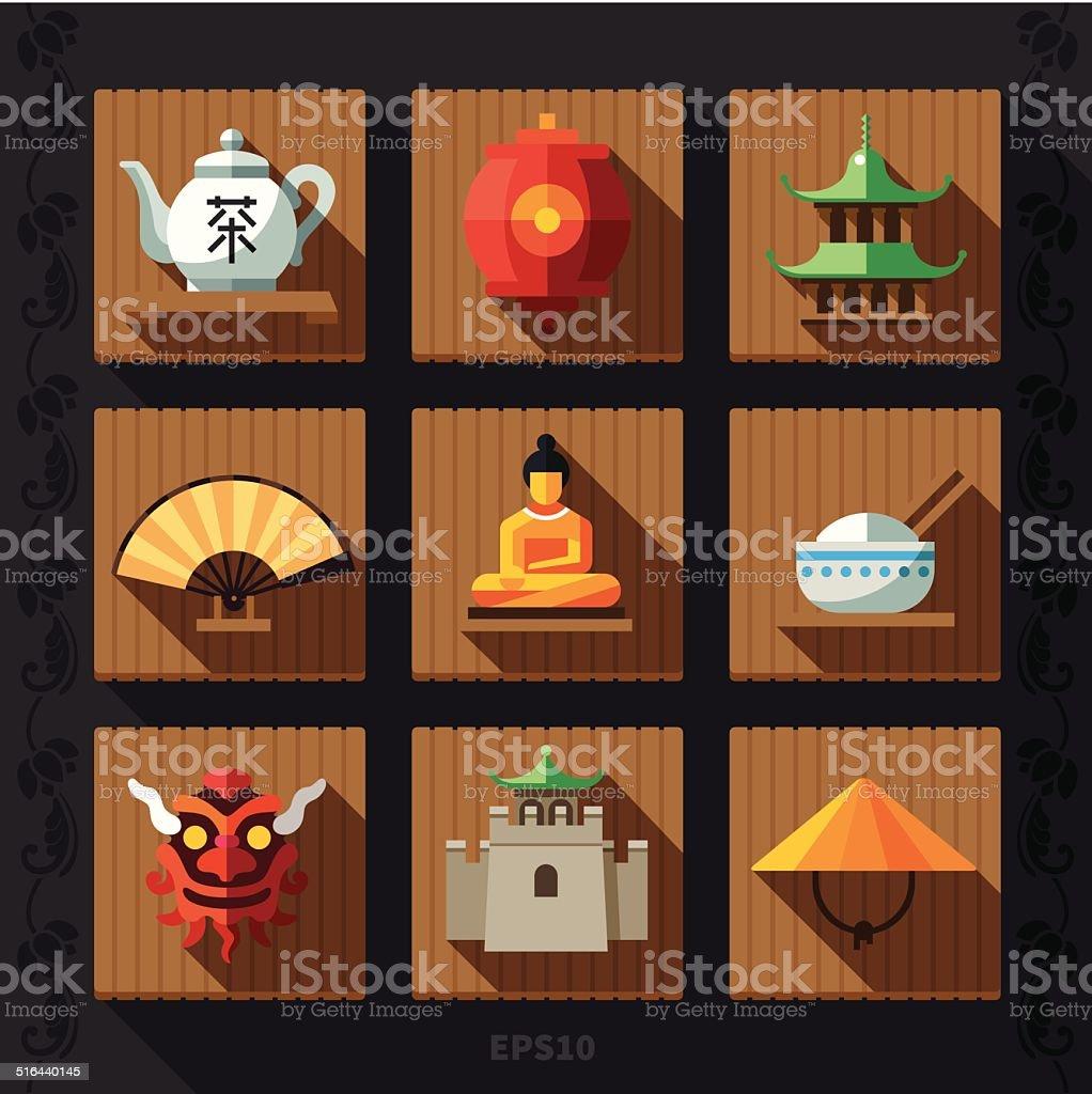 Chinese lantern flat icon vector vector art illustration