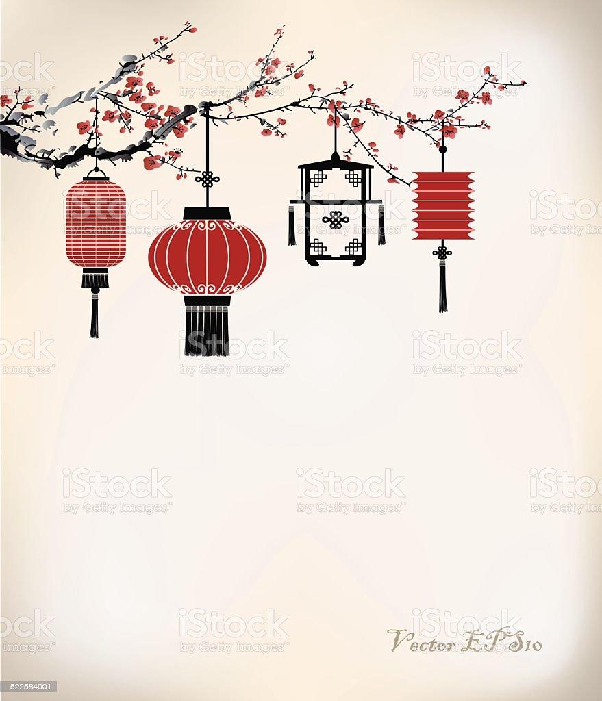 Chinese Lantern hang on cherry tree vector art illustration