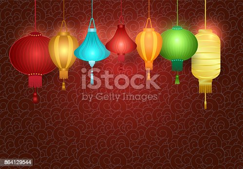 Chinese Lantern Hanging On Pattern Background Stock Vector Art & More Images of Asia 864129544
