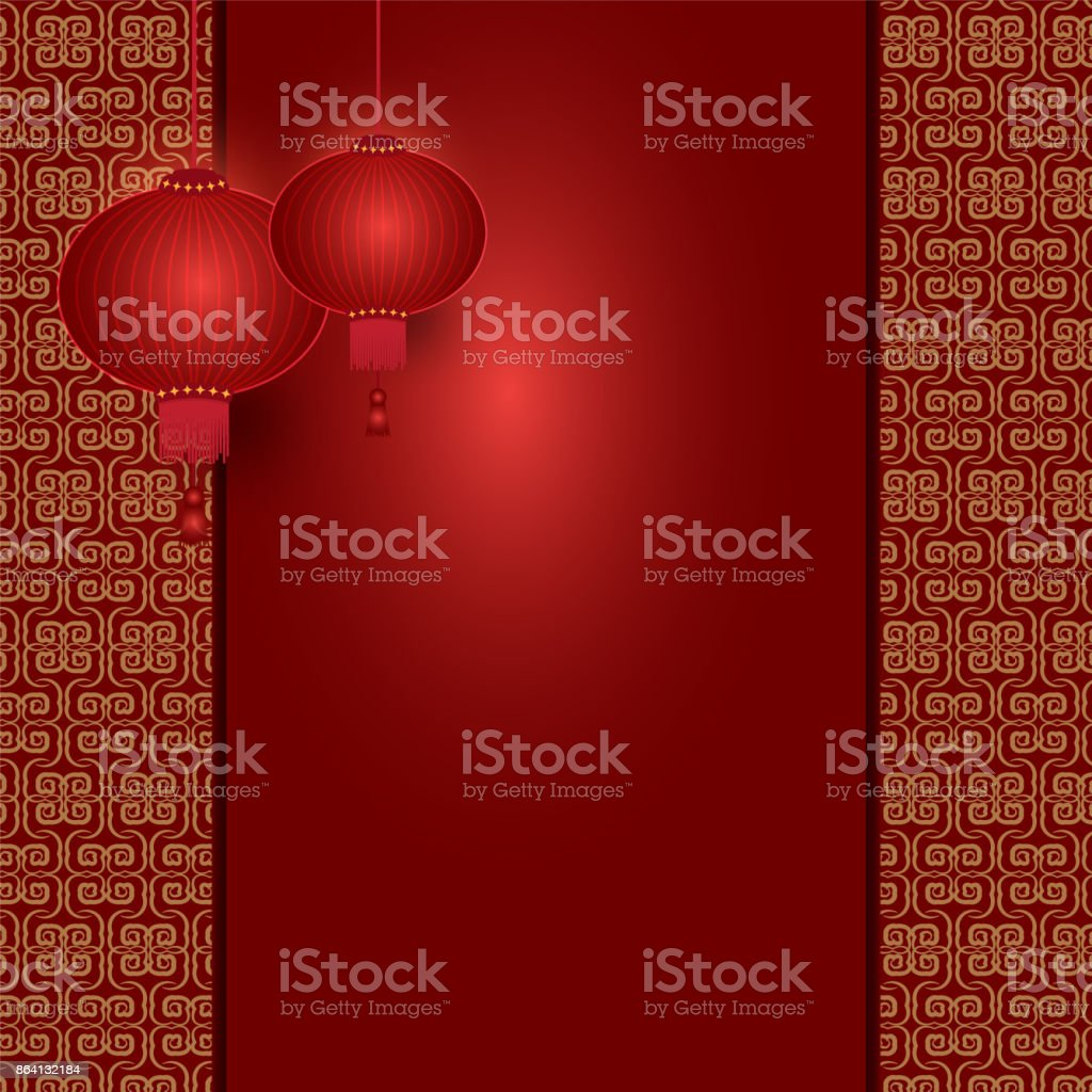 Chinese lantern hanging on pattern background royalty-free chinese lantern hanging on pattern background stock vector art & more images of asia