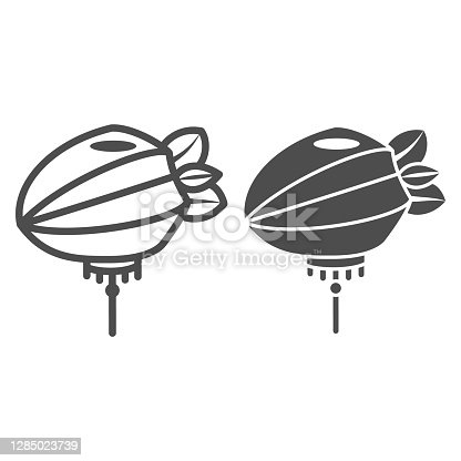 istock Chinese lantern line and solid icon, chinese mid autumn festival concept, paper lantern with rope sign on white background, flashlight from china icon in outline style for web design. Vector graphics. 1285023739