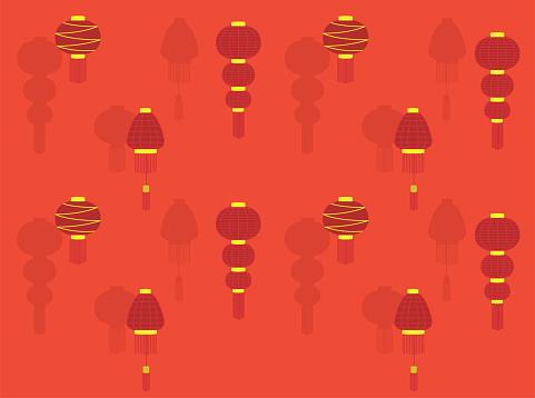 Chinese Lantern New Year Various Vector Wallpaper Set 2-01