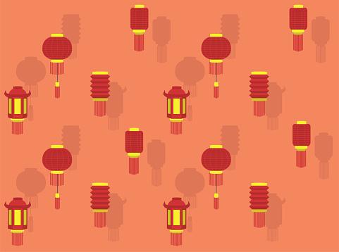 Chinese Lantern New Year Various Vector Wallpaper-01