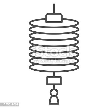 istock Chinese lantern thin line icon, chinese mid autumn festival concept, paper flashlight sign on white background, hanging lantern from china icon in outline style for web design. Vector graphics. 1285019589
