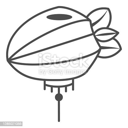 istock Chinese lantern thin line icon, chinese mid autumn festival concept, paper lantern with rope sign on white background, flashlight from china icon in outline style for web design. Vector graphics. 1285021055
