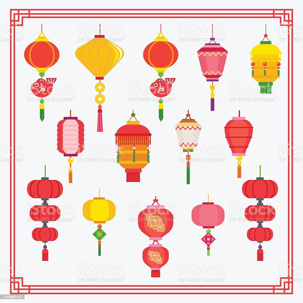 chinese lantern vector art illustration