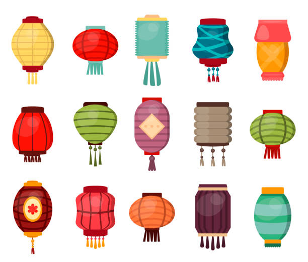bildbanksillustrationer, clip art samt tecknat material och ikoner med kinesisk lykta traditionella kina kultur festival firandet asien orientaliska dekoration vektorillustration - rislampa