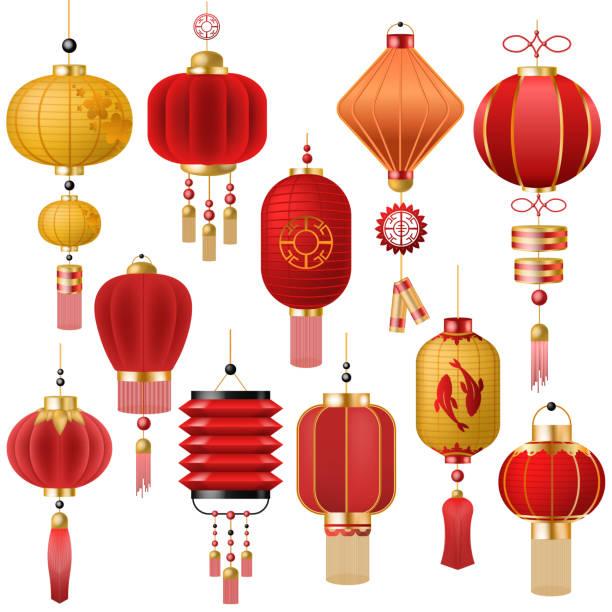 bildbanksillustrationer, clip art samt tecknat material och ikoner med kinesisk lykta vektor traditionell röd lykta-ljus och orientalisk dekor kina kultur för asiatiska hyllning illustration uppsättning festival inredning ljus isolerad på vit bakgrund - rislampa