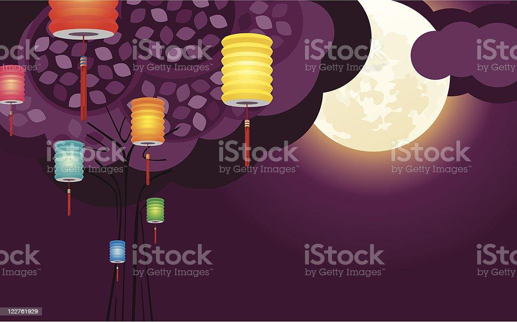 Chinese lantern with full moon vector art illustration
