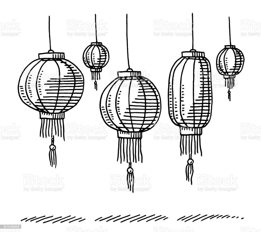 Chinese Lanterns Drawing vector art illustration