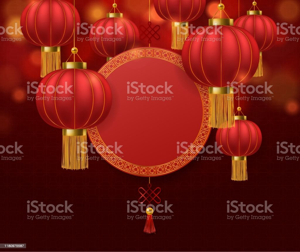 Chinese Lanterns Japanese Asian 2020 Rat New Year Red Lamps Festival 3d Chinatown Traditional Realistic Festive Vector Background Stock Illustration Download Image Now Istock