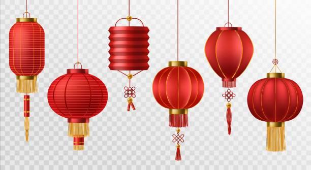 bildbanksillustrationer, clip art samt tecknat material och ikoner med kinesiska lyktor. japanska asiatiska nyåret red lampor festival 3d chinatown traditionella realistiska element vektor set - rislampa