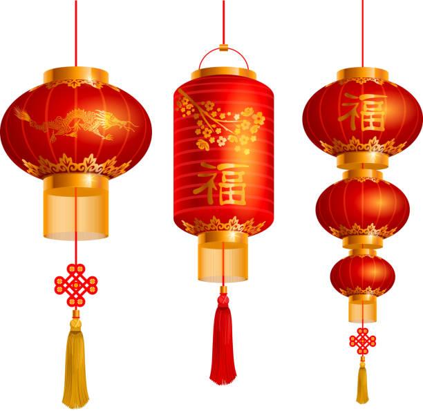 bildbanksillustrationer, clip art samt tecknat material och ikoner med chinese lanterns set - rislampa