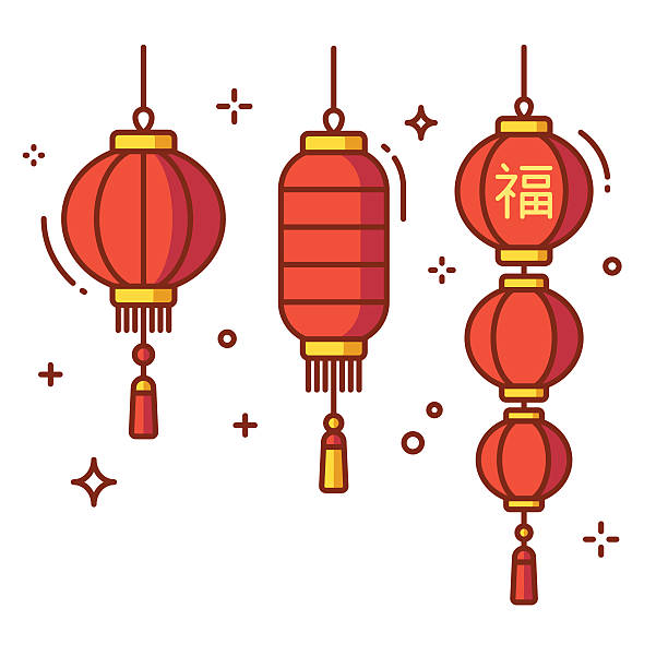 Chinese lanterns set Set of Chinese New Year lanterns, round and cylinder shape. Traditional red paper lanterns with Chinese hieroglyph - Luck. Flat vector style illustration. lantern stock illustrations