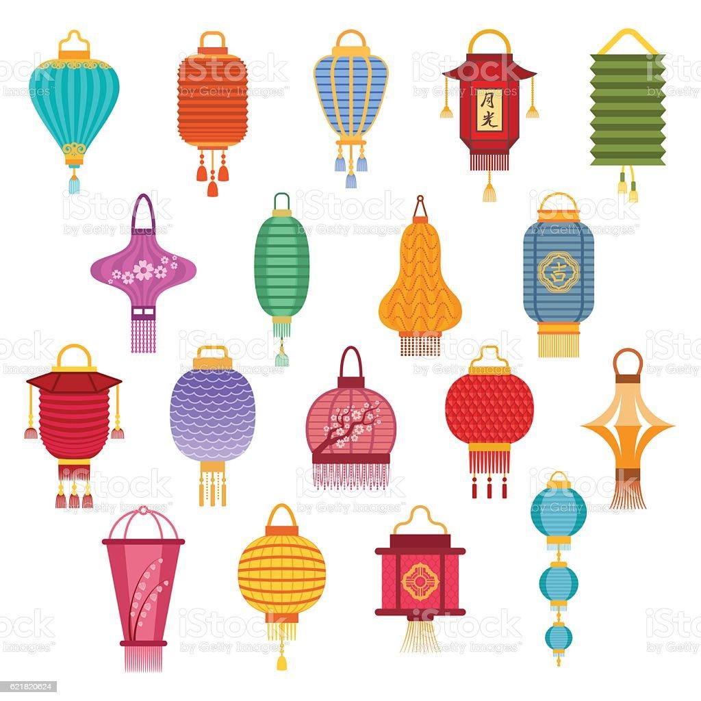 Chinese lanterns vector illustration. vector art illustration