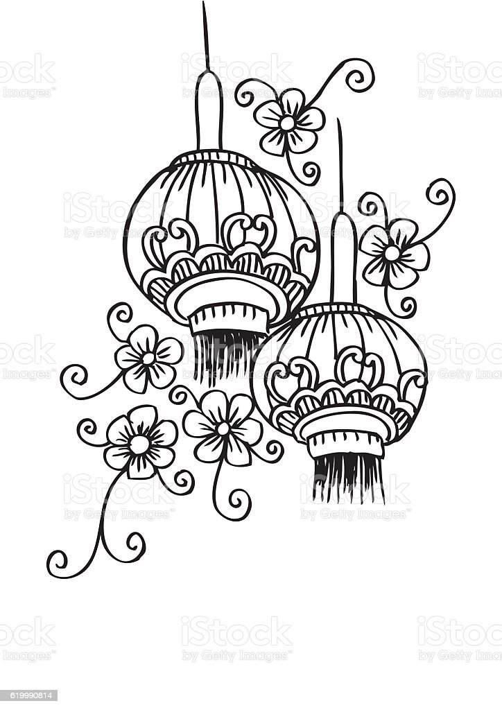 Chinese Flower Line Drawing : Chinese lanterns with flower hand drawing stock vector art