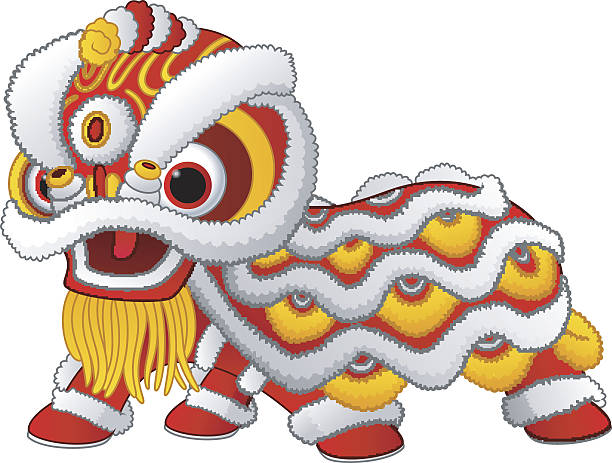 Chinese lion dance isolated on white background vector art illustration
