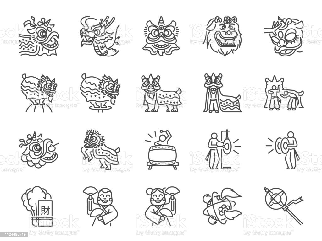 Chinese lion dance line icon set. Included the icons as performances,...