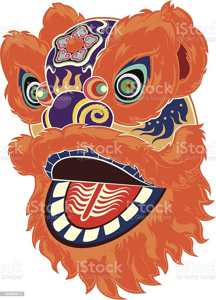 Chinese lion dance vector art illustration