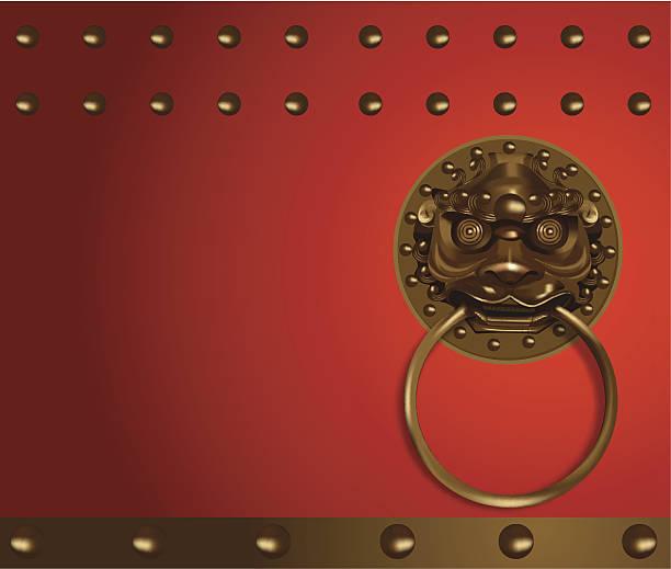 chinese lion head - türklopfer stock-grafiken, -clipart, -cartoons und -symbole