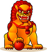 chinese imperial lion illustration.