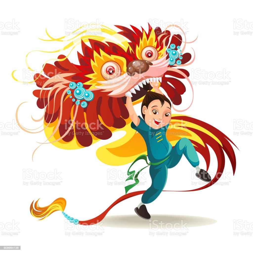 Ilustración De Chino Lunar Año Nuevo León Danza Lucha
