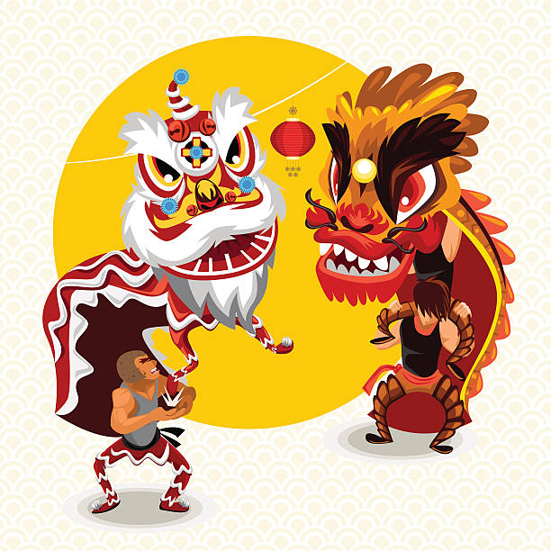 Chinese Lunar New Year Lion Dance Fight vector art illustration
