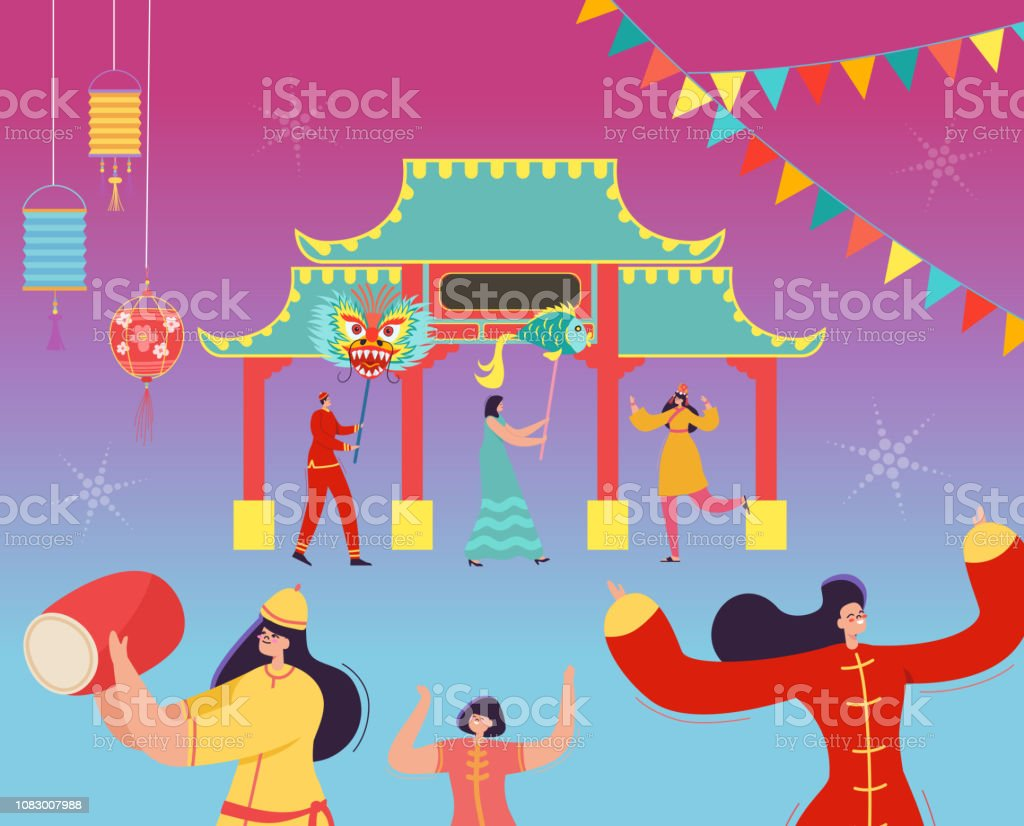 c5dd328d7 Chinese Lunar New Year People holding Dragon, Fish. Lion dance characters  wearing china traditional costume on parade or carnival. Vector illustration  - ...