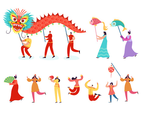 Chinese Lunar New Year People holding Dragon. Lion dance women and men characters wearing china traditional costume on parade or carnival. Vector illustration