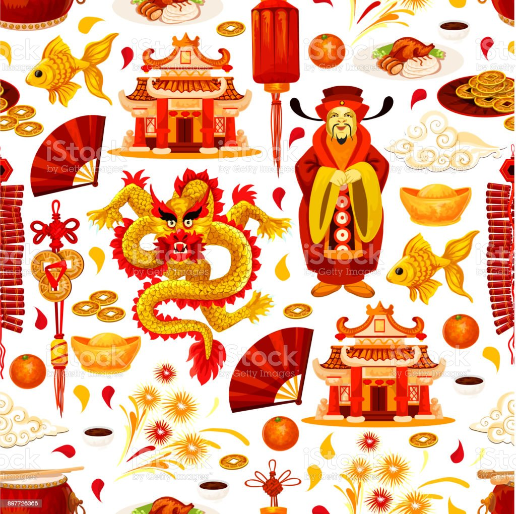 Chinese Lunar New Year Symbols Vector Pattern Stock Vector Art