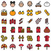 Chinese lunar new year vector icon set, filled design editable outline
