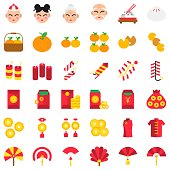 Chinese lunar new year vector icon set, flat design