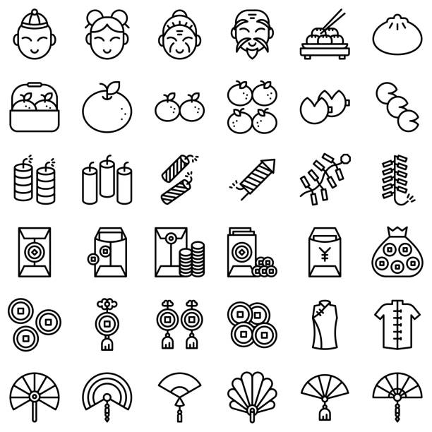 Chinese lunar new year vector icon set, line style Chinese lunar new year vector icon set, line design human head stock illustrations
