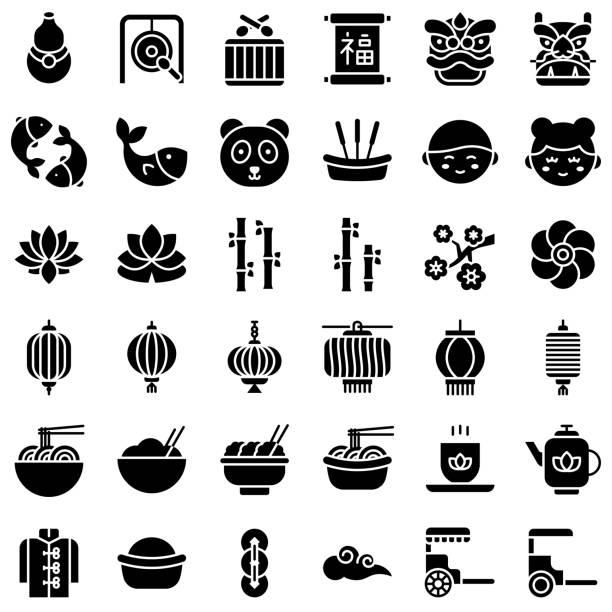 китайский лунный новый год vetor значок набор, твердый стиль - chinese new year stock illustrations