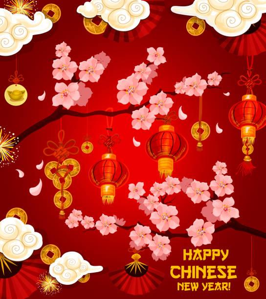 Chinesischen Lunar New Year Wunsch Vektor Grußkarte Stock Vektor Art ...