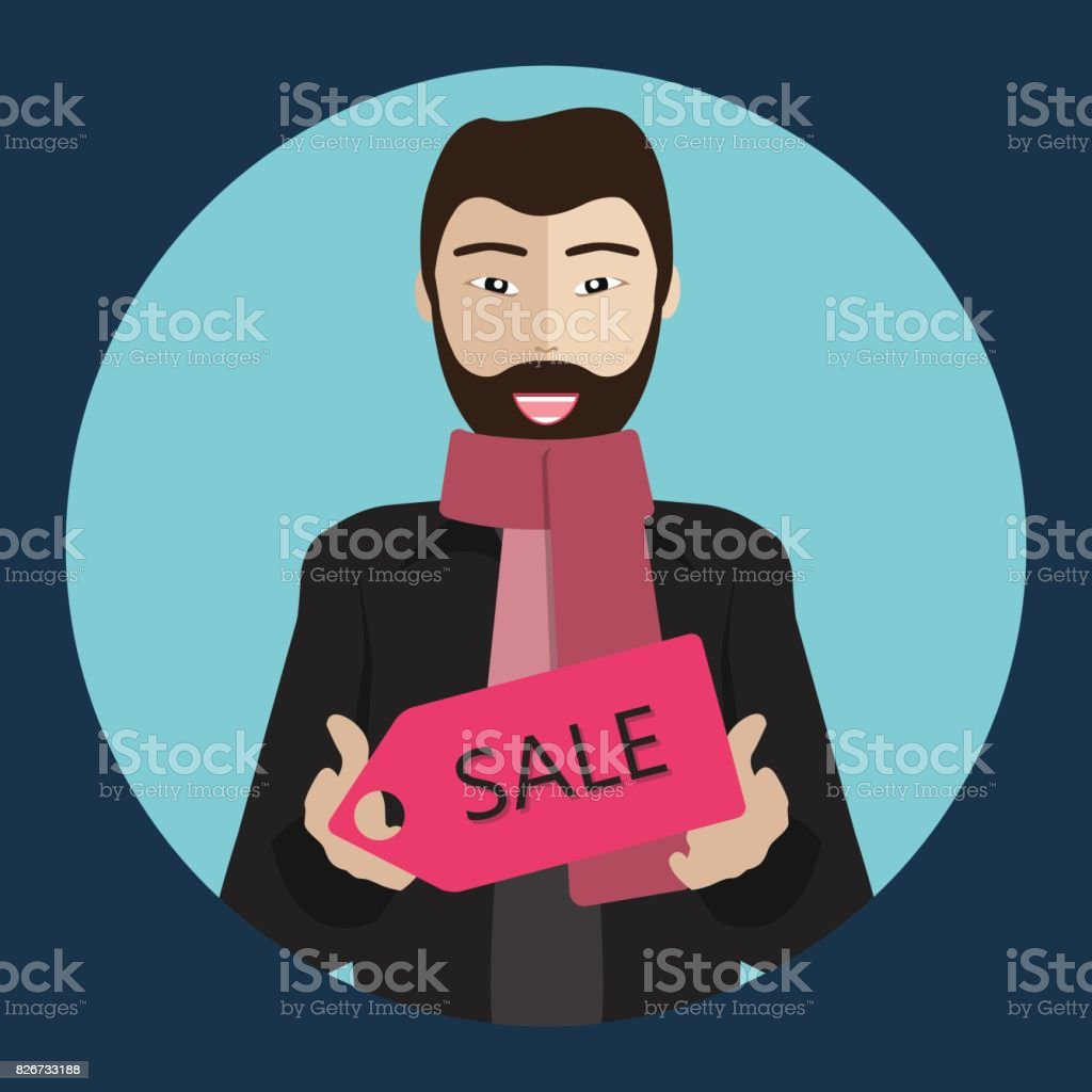 Chinese man holding a sale sign. Winter collection sale concept. Flat vector illustration. vector art illustration