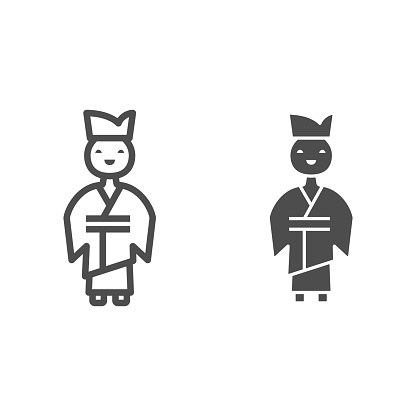 Chinese man line and solid icon, chinese mid autumn festival concept, boy in traditional costume sign on white background, male from china icon in outline style for web design. Vector graphics